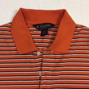 Brooks Brothers orange blue striped polo shirt M